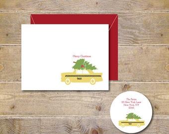Christmas Cards, Taxi, NYC,  Holiday Cards, Christmas Tree, Holiday Stationary, Christmas Tree Day, New York City, Christmas Greetings