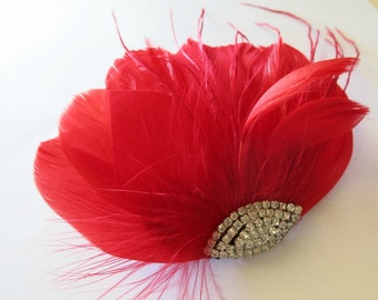 Bridal Hairpiece, Bridal Fascinator, Red Feather Fascinator, Head Piece, Wedding Hair Accessories, Wedding Hair Piece Art Deco Fascinator