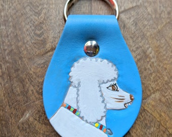 Key Fob with White Poodle