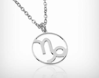 "Capricorn zodiac necklace, 0.5"" Dainty solid silver necklace constellation necklace zodiac jewelry delicate necklace astrology sign necklace"