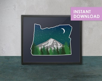 Oregon Mountain Digital Illustration Art Print - Printable, Digital Art