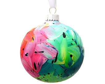 Hand Painted Bauble // Christmas Decoration // Pink, Turquoise, Yellow and Green // God Colours Collection // Ceramic Ornament