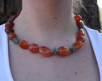 Carnelian and African turquoise necklace