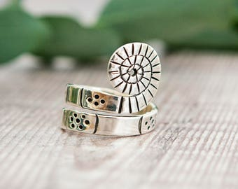 Original Fossil Design Sterling Silver Ring with Spiral Effect - Handmade ring