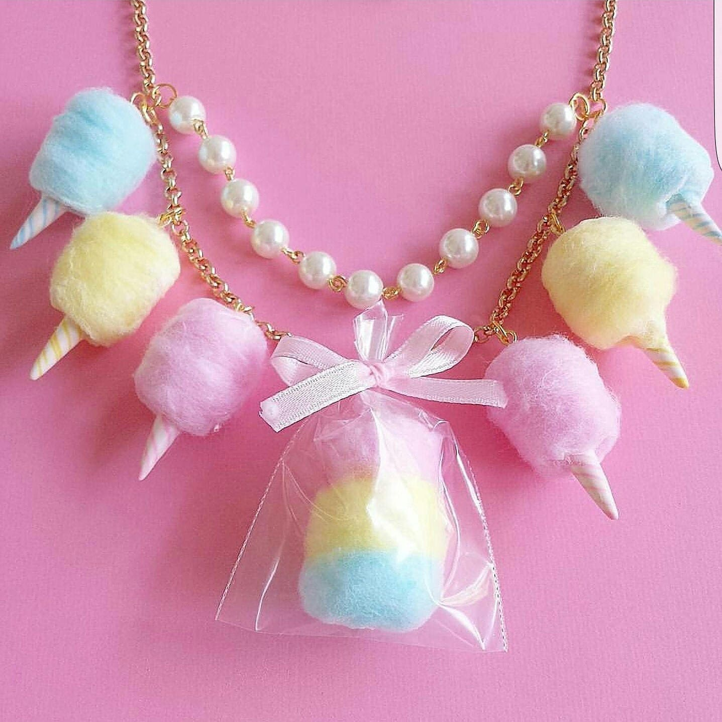 Cotton Candy Necklace Carnival Cotton Candy Statement Necklace