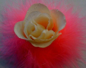 Off White Rose With Hot Pink Marabou Hair Clip