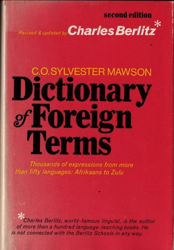 Dictionary of Foreign Terms + C. O. Sylvester Mawson and Charles Berlitz + 1975 + Vintage Book