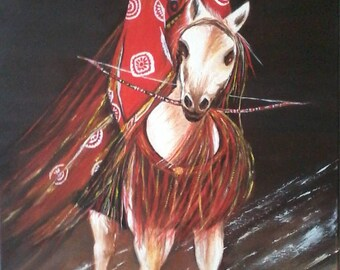Oil painting: Japanese warrior on his horse