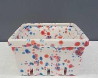 Ceramic Berry Basket - Red White And Blue Basket - Blueberry - Strawberry- Blueberry Strawberry Basket - Berry Basket - Ceramic Produce Cont