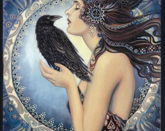 Raven Goddess ACEO ATC Mini Altar Art Pagan Mythology Witch Art Nouveau Psychedelic Bohemian Gypsy Goddess Art