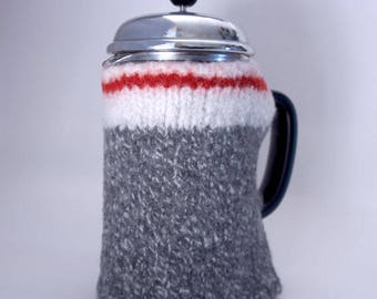 Bodum Cozy coffee cozy 32 oz wool work sock coffee cosy felted wool French Press Cosy in grey sock monkey