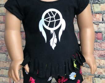 18 Inch American Made Doll Clothes | Dreamcatcher Black V Fringe Short Sleeve Top