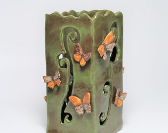 Butterfly Luminary - Candle Holder - Stoneware - Carved - Gift for Her - Outdoor Decor - Patio - Lantern -Butterflies - Handcrafted Pottery