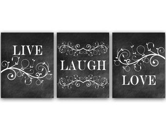 Home Decor Wall Art, Live Laugh Love Art, Chalkboard Wall Art CANVAS, Bathroom Wall Decor, Bedroom Wall Art, Chalkboard Art Prints - HOME23