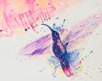Hand-made trendy Hummingbird in flight original watercolor on paper 300 gr/m2