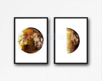 Set of 2 Moon Prints, Minimalist Moon Art, Gold Moon Phases, Wall Art, Modern, Poster, Wall Decor, Home Decor, Art Prints