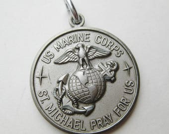 Vintage St. Michael Protect Us in Battle USMC Marine Corps Necklace Pendant Charm