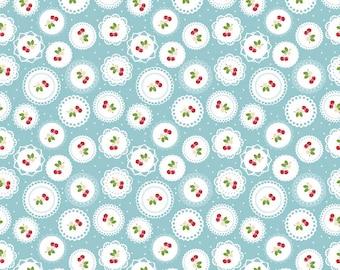Sew Cherry 2 - Per Yd - Riley Blake - by Lori Holt - Cherry circles on Blue