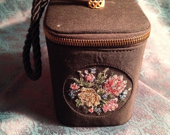 Vintage Black Box Purse Needlepoint Pink Yellow Flowers 1950s
