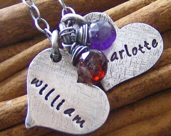 Double the love.... hand stamped fine silver personalized necklace