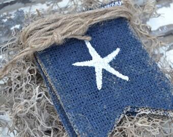 Starfish Glittered Painted Burlap Banner