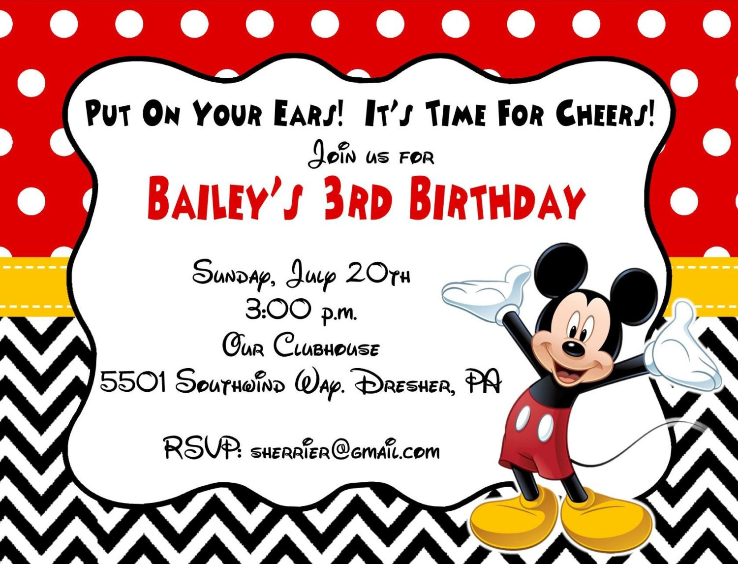 10 printed mickey mouse invitations with envelopes free zoom pronofoot35fo Choice Image