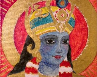 ORIGINAL A sacred portrait of Lord Krishna for altar. sacred hindu painting. oil & acrylic on canvas panel