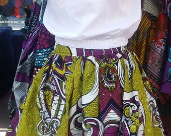 African Print Skirt...Purple and Chartreuse
