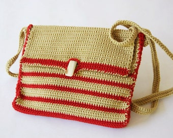 purse Red---Green Dindin Cotton.  a vintage plastic  button.Christmas gift knit with two needles Free shipping