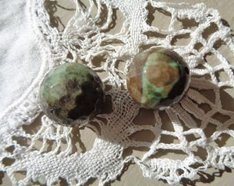 Two large green Jasper faceted beads-