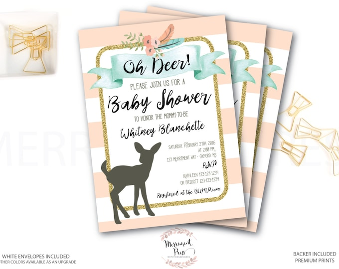 Oh Deer Baby Shower Invitation // Woodland Invitation // Fawn Invitation // Girl // Peach // Mint // Gold Glitter // OXFORD COLLECTION