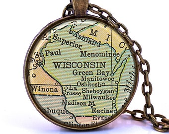 Wisconsin Map Pendant Necklace - Created from a 1934 map. Map Jewelry, Map Necklace, Map Pendant, Custom Jewelry, Personalized Jewelry