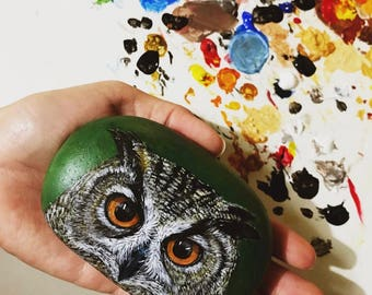 Hand-Painted owl rock