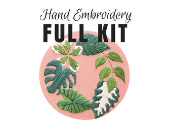 Hand Embroidery KIT: Tropical Plants Pink - Beginner Needlepoint Design - Modern Contemporary Embroidery Pattern - Satin Stitch Plants