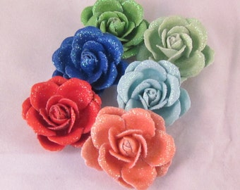 Set of (6) Fabric Men's Rose Lapel Pin Flowers - Assorted Colors - Everyday / Weddings / Prom