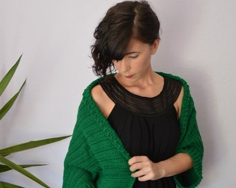 Crochet Cardigan Sweater. Plus Size Shrug Sweater. Green Crochet Bolero Shrug. Crochet Shrug Sweater. Oversize Bolero