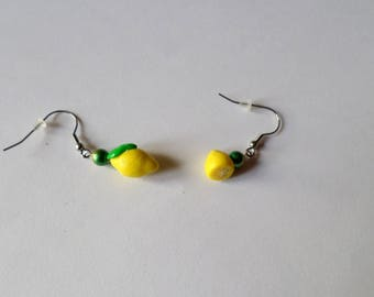 whole and half lime lemon earrings