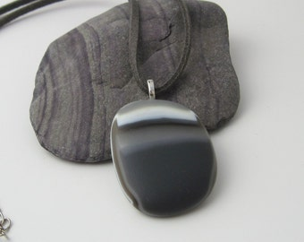Glass Pebble Pendant, grey satin finish, statement fused glass necklace