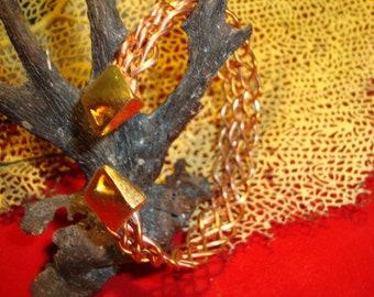 1  Copper & gold woven copper wire bracelet