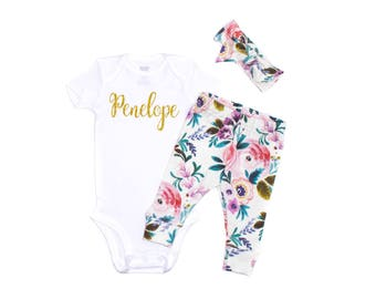 Victoria Floral Newborn Take Home Outfit, Floral Leggings, Baby Watercolor Leggings, Vintage Floral Leggings Outfit, Purple Floral Leggings
