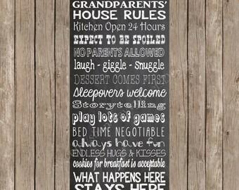Chalkboard Grandparents' House Rules - Grandma's House Rules - Grammie's House - Printable