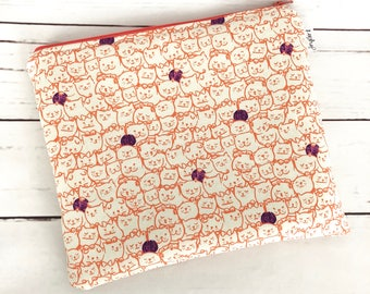 Large Zipper Pouch with Peachy Zipper Cosmetic Bag Toiletry Bag Accessory Bag