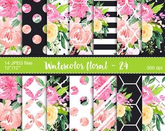 Watercolor Digital Paper - Floral Digital Paper, Watercolor floral, Planner stickers resources, Watercolor flowers, Planner paper, Flowers
