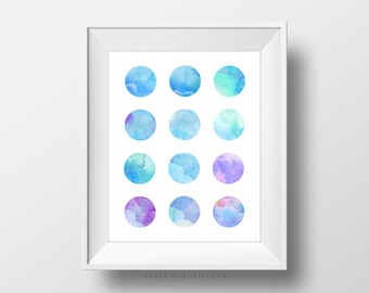 SALE -  Watercolor Circles, Watercolor Print, Blue Watercolor, Purple Watercolor, Circle Print, Shape Poster, Geometric Art, Modernism