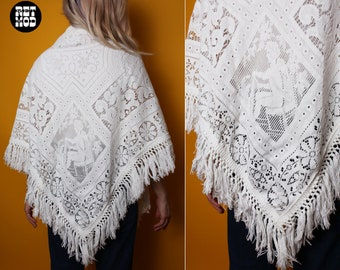 Incredible Vintage 60s 70s White Shawl Wrap with Fringe and Cherub Weaving