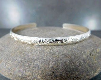 Floral Silver Cuff Bracelet Delicate 4mm Wide Sterling Silver Vine & Leaf Open Bangle Layering Everyday Jewelry Adjustable Stacking Bracelet