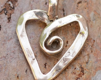 Artisan Ribbon Heart with Curly Q Sterling Silver Pendant PX-245