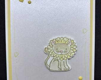 Baby card, handmade baby shower card, little lion, baby lion