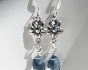 Sterling Silver Flower Earrings with Blue Grey Quartz Stone Beads