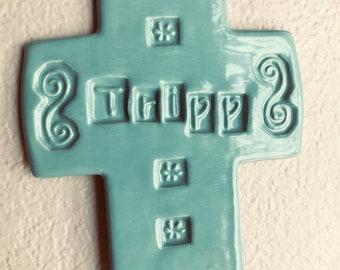 Personalized Tripp Ceramic Cross medium size in Turquoise Turks colored glaze